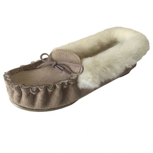Moccasin Slippers Fur Lined Size 8 Beige Hard Sole